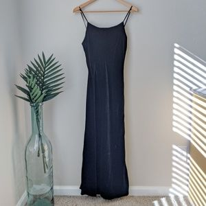 Vintage J. Crew 90s Velvet Maxi Dress Gown Black